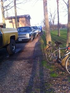 trucks and bike